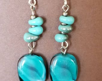Silver plated glass turquoise earrings.