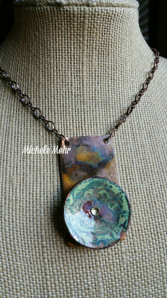 "Memories Riveted Vitreous Enamel Copper and Fire Painted Copper Pendant on Oxidized Copper Chain 18"" Necklace"