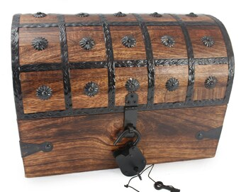 "Treasure Chest - Large Wooden Authentic Pirate Treasure Chest Large 12""x9""x9"" With Iron Lock PyrateLife Brand"
