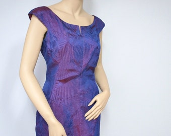 Purple Dress 1980's Party Dress Wiggle Vintage Party Dress Fitted Cocktail Dress Sweetheart Neckline Size 8  Slinky