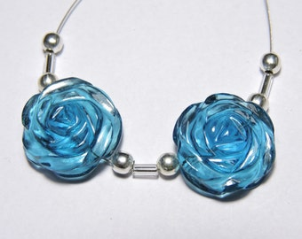 2 Pcs Very Attractive Teal Blue Quartz Hand Carved Flower Shaped Beads Size 18X18 MM