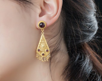 Filigree Sterling Silver-Gold-Nature stone-Garnet-Indian style-Luxury-Handcrafted Chandelier Earrings-garnet January birthstone for her