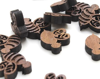Bumble Bee Mini Charms - Small Bee Minis made from Walnut Wood. Pack of 15. Timber Green Woods, made in the USA! Honey Bees.
