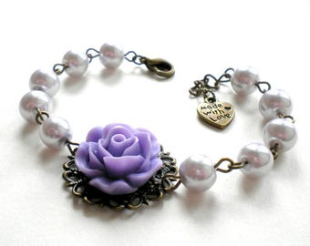 Bridesmaid Pearl Bracelet Violet Bracelet Will You Be My Bridesmaid Gift Lavender Bracelet Lavender Wedding Jewelry Bridal Party Jewelry