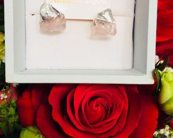 Gemstone earrings, pyrite & Quartz