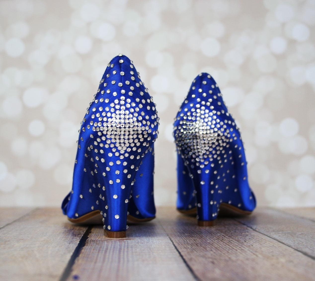 Blue Wedding Shoes Wedges Bling