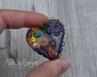 Large Heart shaped pretty flower Lampwork Focal Bead, rainbow, purple, love, floral, swirl golden, sparkle