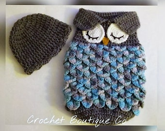 CROCHET PATTERN Original Sleepy Owl Baby Cocoon, Papoose & Hat in 0-3 and 3-6 months sizes, U.S.A, PDF file,  Digital Download