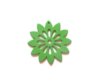 Carved wood 2 x green flower charms pendants