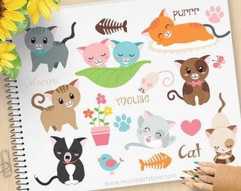 Love Cats Clipart, Kittens, mouse, fish bone, little kitty, gardening, bird, spring, pets. Commercial Use, Vector clip art, SVG Files
