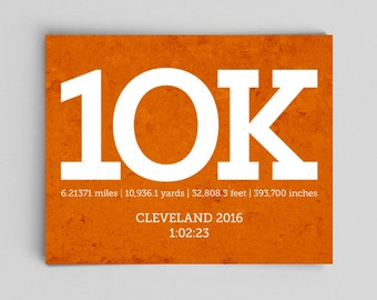 Custom 10k Running Print with Race Times Custom Running Poster Runner Girl 10k Running 10k Runner Gifts for Runners Gifts Typographic Print