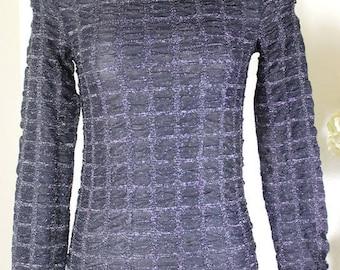 Vintage VERSUS VERSACE Black Glittery Long Sleeve Top Blouse Shirt 24 38 2 3 4 Small