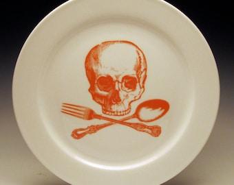skull and cross-utensils 9 inch dinner plate in Orange