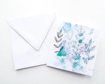 pretty birthday card, watercolor birthday card, friend birthday card, botanical print, nature print, watercolour art