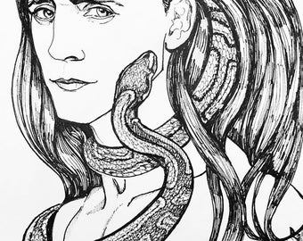 Art Print from Original Ink Drawing - With Snake