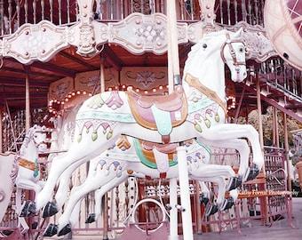 Paris Carousel Horses, Paris Photography, Paris Merry Go Round, Baby Girl Nursery Decor, Paris Pink Carousel Horses, Paris Carousel Prints