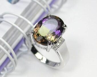 4.5 ct Natural bicolor ametrine ring sterling silver wedding ring.