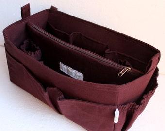 Diaper purse organizer Fits large Longchamp Le Pliage- Bag organizer insert in Coffee Brown
