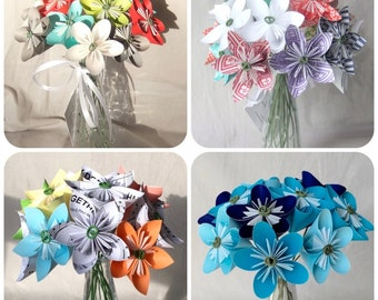 Custom Origami Flower Bouquet, Anniversary Gift, Valentine's Day, Paper Flowers, Paper Flower Decor, Mother's Day, Office Decor