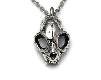Cat Skull Necklace, Handmade Pendant in Pewter