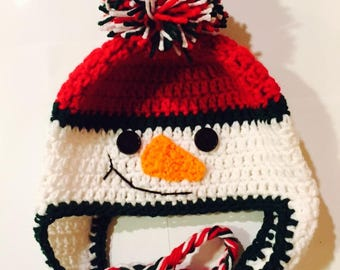 Child-Adult Red/Green Snowman Earflap Hat