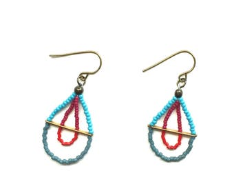 Blue Leaf Beaded Earrings