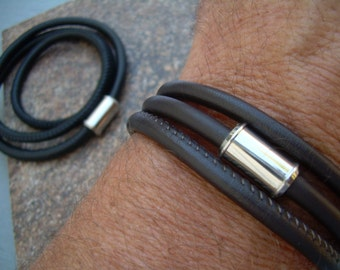 Triple Wrap Stitched Nappa Leather Bracelet with Stainless Steel Magnetic Clasp, Mens Leather Bracelet, Mens Bracelet, Mens Jewelry,