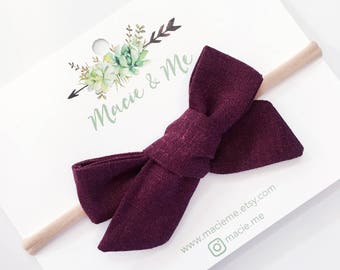 Burgundy Linen Tied Bow / Girls Hair Bows / Alligator Clip / No Slip Grip / Macie and Me / Hand Tied