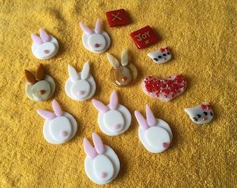 Easter Bunny. Fused glass Easter rabbit fridge magnets.Kiss.