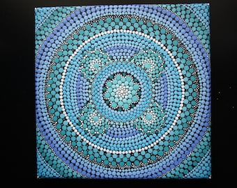 "Hand painted blue and turqoise mandala on canvas 8"" x 8"" dot pointillism art"