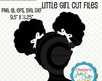 Afro Puffs Little Girl Silhouette   Little Girl Silhouette   SVG Cut File   African American Girl Silhouette   Designer Resources Clip Arts