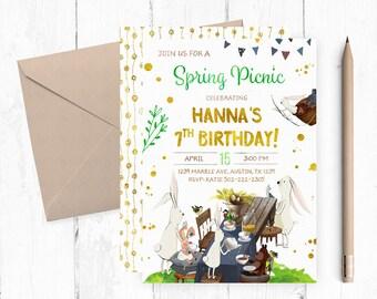 Spring Birthday Invitation, Spring Picnic Invitations, Bunny Invitations, Bunny Birthday Invitation, Bunny Invites, Picnic Invitation,