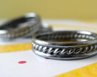 Sterling Silver Band. Oxidized Ring.