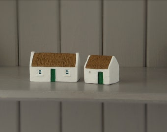 Ireland cottages craft. Miniature Irish farm cottage and barn. Made in Ireland. Irish gift
