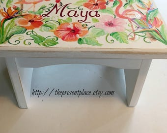 personalized,customized step stool,flamingos,tropical flowers,girls step stool,kids bench,baby's stepstool,childrens bench,distressed