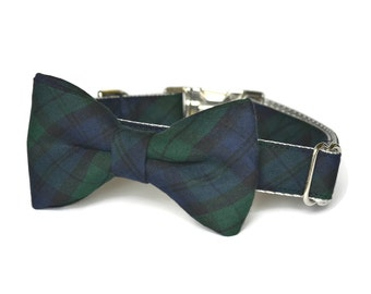 Navy And Green Plaid Dog Bow Tie Collar