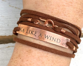 Your own handwriting or logo copper and suede leather lace up bracelet, personalized, customizable