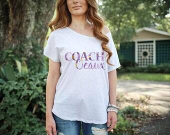 Coach Oeaux Watercolor LSU Tigers Marble Women's Tee