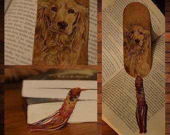 handmade wooden bookmark pyrography golden retriever