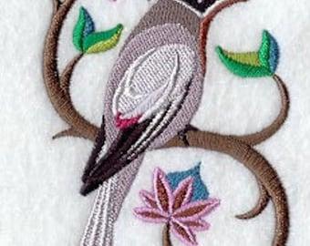 Waxwing Towel - Ceder Waxwing Towel - Bird Towel - Embroidered Towel - Flour Sack Towel - Hand Towel - Bath Towel - Apron - Fingertip Towel