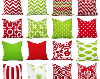 Holiday Pillow Covers - Christmas Pillows - Red and Green Throw Pillows - Christmas Decor - Red Pillows - Green Pillows - Pillow Shams