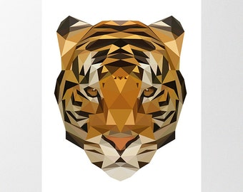 Tiger Printable Art, Low Poly Tiger Print, Geometric Jungle Poster, Instant Download, Animal Poster, Childrens Art, Nursery Decor, Polygonal