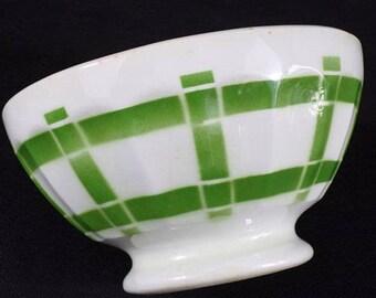 Large bowl has green and white vintage Digoin Sarreguemines soup? dishes vintage kitchen vintage ceramic French vintage France vintagefr
