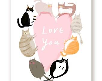 Love You - Big Pink Heart Cat Card - Cat Heart