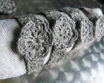 Wedding Napkin Rings, Rustic Table Decor, Crochet Natural Linen Napkin rings,Set of 4, 6, 8, 12,Shabby Chic,Wedding Decor,Linen napkin rings