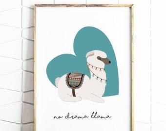 llama print, drama llama, digital llama art, download drama llama, digital downloads, llama decor, llama poster, llama prints