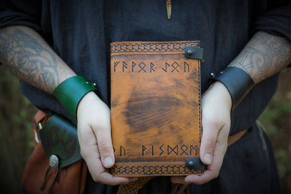 Runic Leather Journal Cover - Book of Shadows - Sketchbook