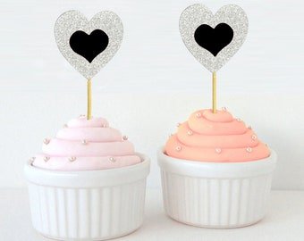 Glitter Heart Cupcake Toppers, Engagement Party Cupcake Toppers, Food Pick, Anniversary Dessert Decorations Topper - Pack Of 20 DSCCT45
