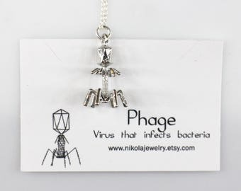 Silver Bacteriophage Necklace, Biology Necklace, Virus Pendant, Phage Pendant, Geek Jewelry, Biology Gifts