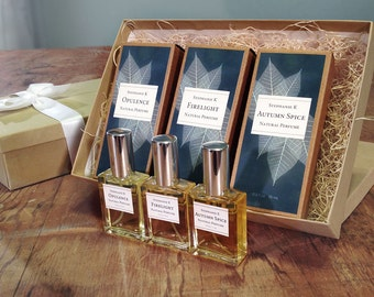 Deluxe Gift Set - 3 natural perfume bottles of your choice, a great gift for her, gift for mom, gift for wife, girlfriend gift